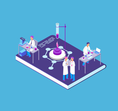 Chemistry, pharmaceutical 3d isometric concept with chemical laboratory equipment and people research scientist vector illustration
