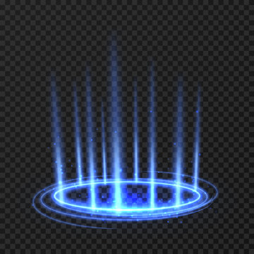 Energy spinning circle with blue glowing rays. Fantasy portal, magic twirled teleport on floor iod vector illustration