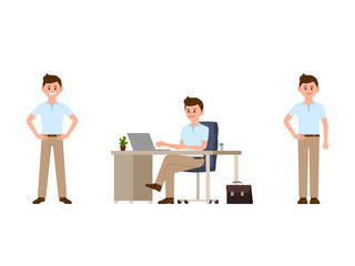 Business man in smart casual look cartoon character. Vector illustration of office worker in different poses