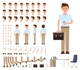 Business man in casual office look character creation set. Vector cartoon style manager constructor kit