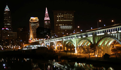 The Detroit Superior bridge is seen leading away from the Cleveland skyline in Cleveland