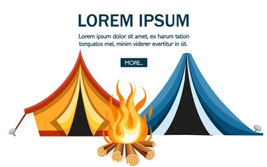 Cartoon tent and bonfire. Blue and orange tent. Sport tourism nature. Flat vector illustration on white background. Camping concept design for website or advertising
