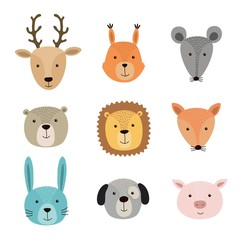 Vector illustration of animal faces including deer, squirrel, hare, lion, pig, fox, mouse, dog, bear