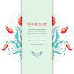 Vector card. Tulip flower ornament and decor with leaves. Insertion for your text.