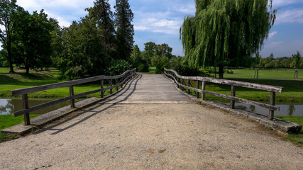 Wooden bridge leading to the park
