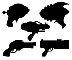 Black silhouette. Cartoon gun. Flat vector toy. Space laser gun design. Vector illustration isolated on white background