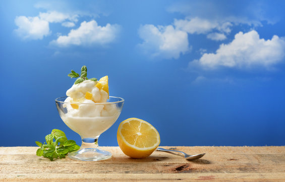 Sicilian lemon sorbet with blue sky in the background