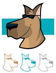 Dog wearing sun glasses various