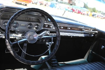 Sweet Home, Oregon June 30, 2018 Vintage Car Dash Interior in Sweet Home, Oregon on June 30, 2018