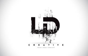 Fototapeta LD L D Grunge Brush Letter Logo Design in Black Colors Vector Illustration. obraz