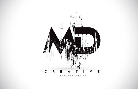 MD M D Grunge Brush Letter Logo Design in Black Colors Vector Illustration.