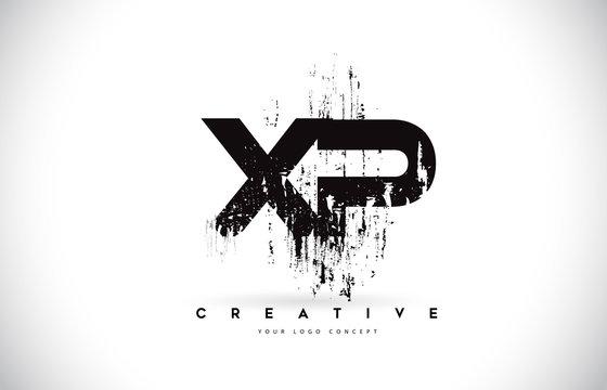 XP X P Grunge Brush Letter Logo Design in Black Colors Vector Illustration.