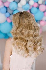 Photo hairstyles for blonde on medium hair. Beautiful curls and waves on the hair.