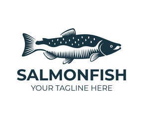 Salmon, fish and fishing, logo template. Underwater world, river and marine life, nature, vector design, illustration
