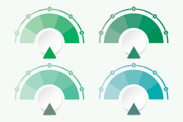 Set of four infographic diagrams in shades of green color.