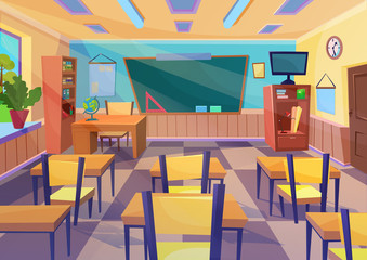 Empty vector flat cartoon school class room interior with board desk.