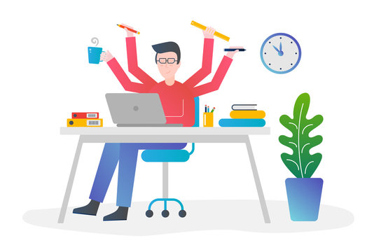 Flat gradient color design vector concept illustration. Office man with multitasking and multi skill. Male with four hands holding different things for time managing.