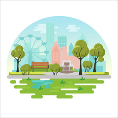 City public park vector illustration concept poster with bench, trees, fountain, plants on modern city background. Green eco landscape.