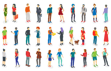 Isometric different people set isolated vector illustration.