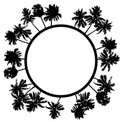 Wall Mural - Vector summer poster framed with black palm trees on white background.