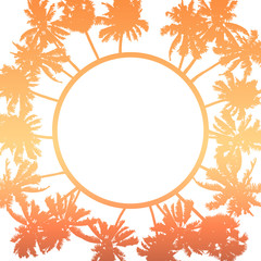 Wall Mural - Vector summer poster framed with red and orange palm trees on white background.