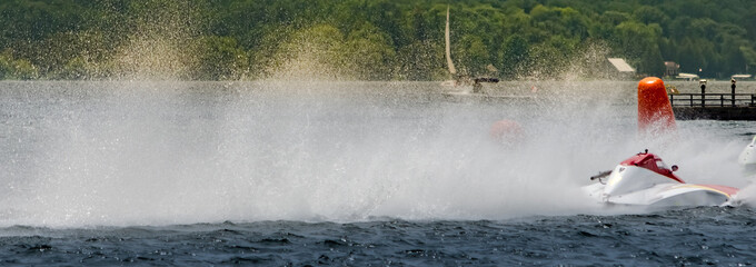 Panorama of a hydroplane racing boat's rooster tail of spray