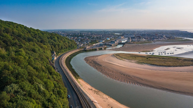 Drone view of Port Guillaume in Dives sur Mer France at sunset with the Pointe de Cabourg