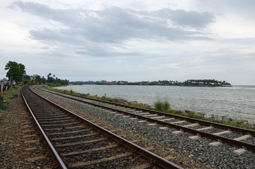 Coastal railway tracks along the ocean. The coast of Sri Lanka