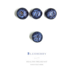 Blueberries on white isolated background, space for text.