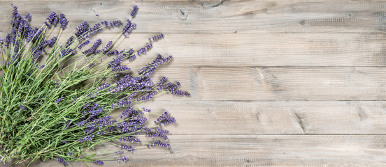 Lavender flowers rustic wooden background Vintage still life