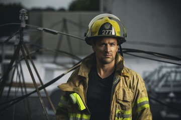 Firefighter with protection clothes working