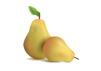 Realistic illustration pears isolated on white background