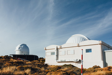 Teide Observatory astronomical telescopes in Tenerife, Canary Islands, Spain
