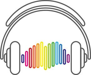Kopfhörer, Equalizer, HiFi, Tonfrequenzen, Sound, Zeichen, Logo