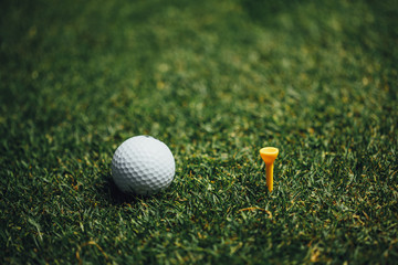 golf ball nearby yellow tee on green grass, closeup view