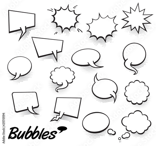Set of blank template in Pop Art style  Vector Comic Text