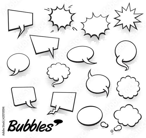 Set Of Blank Template In Pop Art Style Vector Comic Text Speech