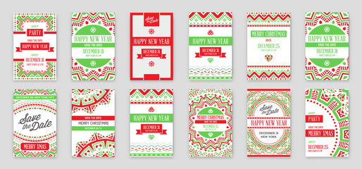 Set of Vector Happy New Year or Merry Christmas theme Save the Date Invitation to the Party