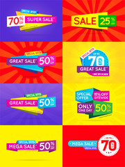 Big Set of Sale Sign Banner Poster ready for Web and Print. Vector.