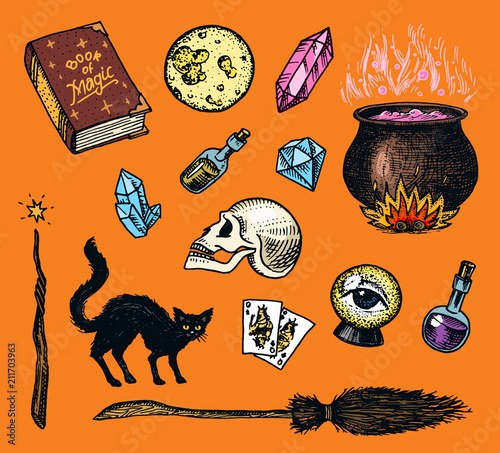 Vintage Halloween elements stickers  Magic ball, witch with