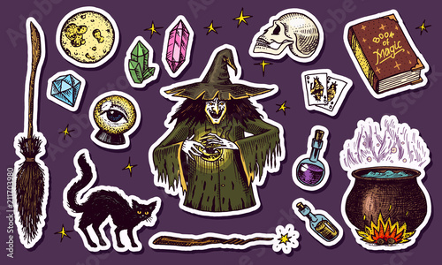 19a712f94 Vintage Halloween elements stickers. Magic ball