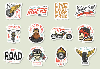 Biker club stickers templates. Vintage custom Motorcycle and skull emblems, labels badges for t shirt. Monochrome retro style. Classic sport motorbike with racing gasoline. Hand drawn engraved sketch.