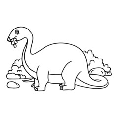 Diplodocus cartoon illustration isolated on white background for children color book