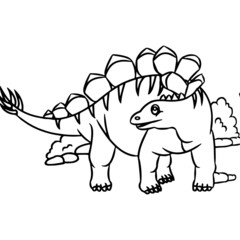 Stegosaurus cartoon illustration isolated on white background for children color book