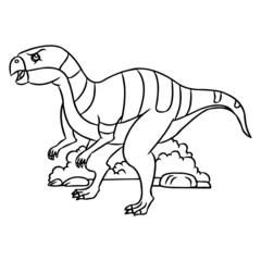 Velociraptor cartoon illustration isolated on white background for children color book