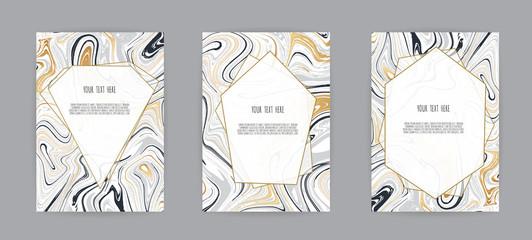 Set of elegant card, background. Black and grey marble texture. Vector illustration.