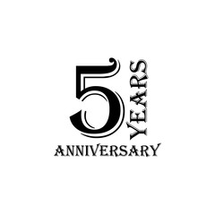 5 years anniversary sign. Element of anniversary sign. Premium quality graphic design icon. Signs and symbols collection icon for websites, web design, mobile app