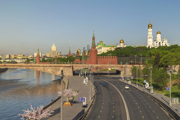 Moscow city skyline at Kremlin Palace Red Square and Moscow River, Moscow, Russia