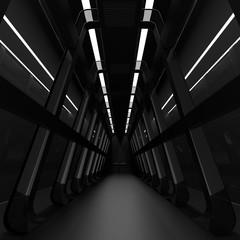 realistic spaceship sci-fi corridor