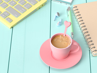 Coffee milk in pink cup on work desk